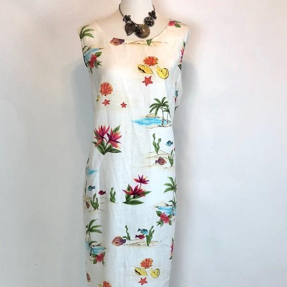2844218034d2 Jennifer Moore Dresses | Linen Maxi Dress Summer Beach Print Size 14 ...